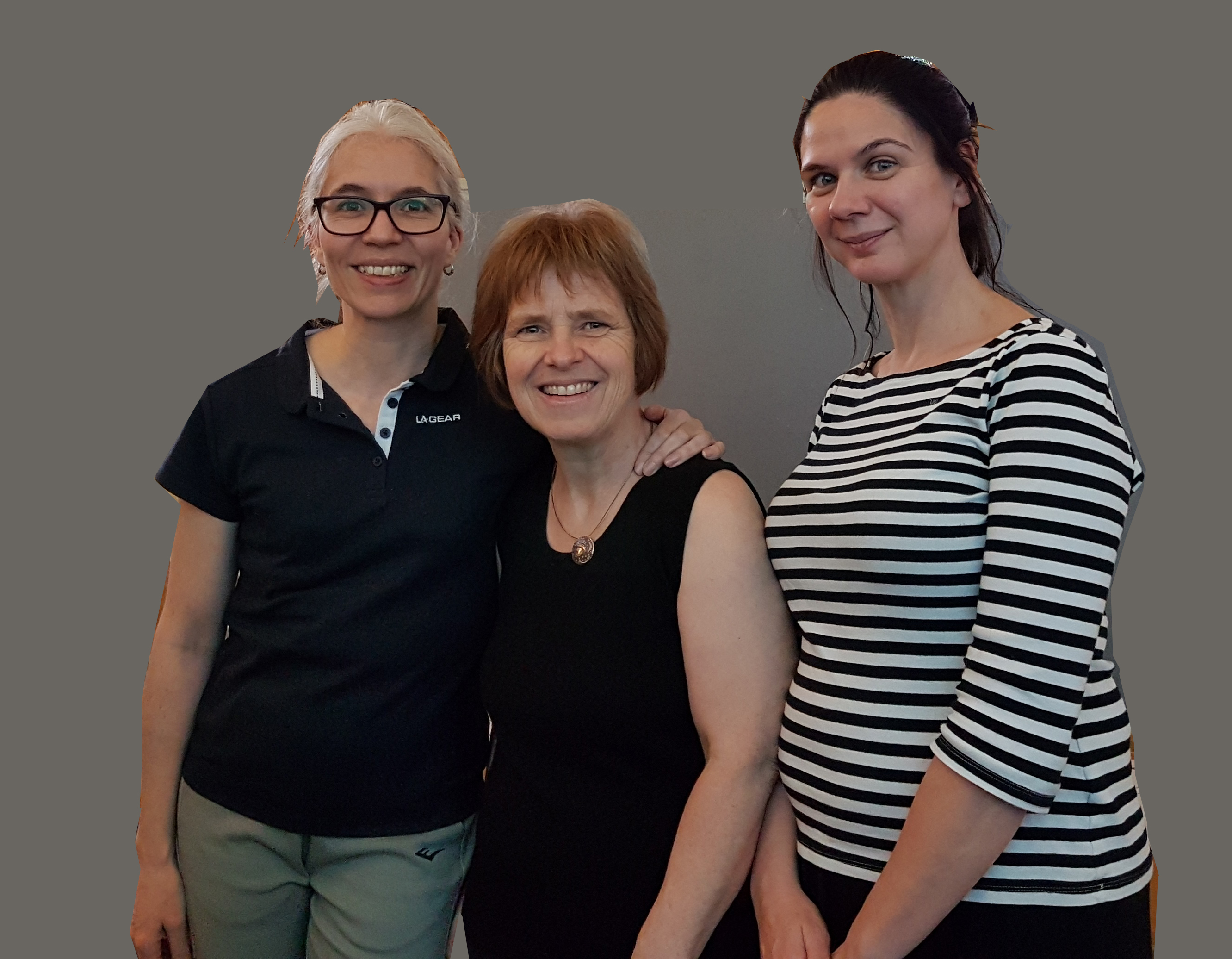 Andrea Duncan, Regina Dengler and Charlotte Sutcliffe - after giving 60 massages