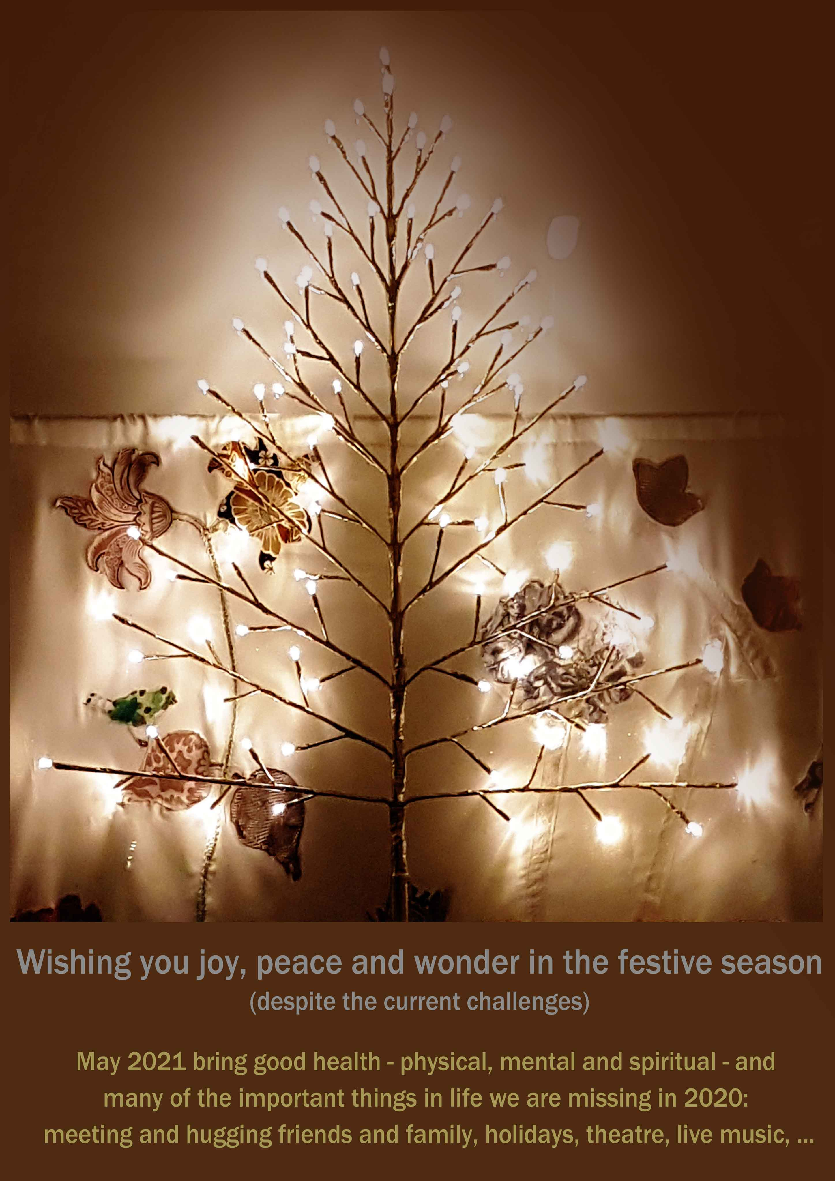 Wishing you joy, peace and wonder in the festive season (despite the current challenges).