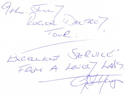 feedback from Roger Daltroy tour